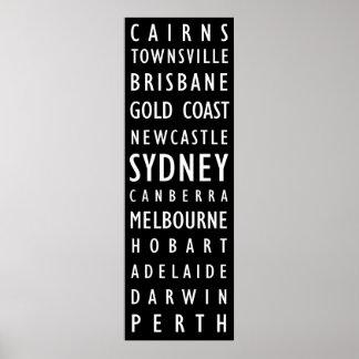 Australian Cities Vintage Transit Scroll Poster