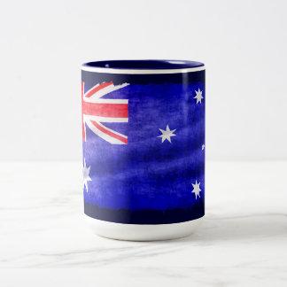 Australian Downunder Flag, Patriotic Design Two-Tone Coffee Mug