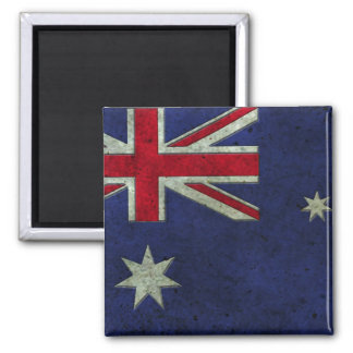 Australian Flag Aged Steel Effect 2 Inch Square Magnet