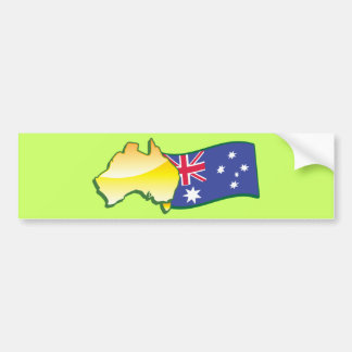 Australian flag and map aussie bumper sticker