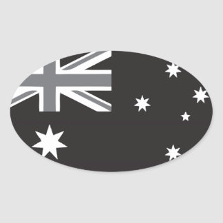 Australian Flag Black and White Oval Sticker
