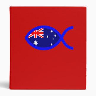 Australian Flag Christian Fish Symbol 3 Ring Binder