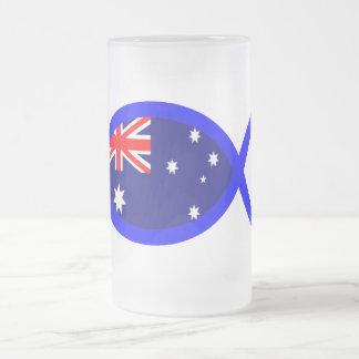 Australian Flag Christian Fish Symbol Frosted Glass Beer Mug