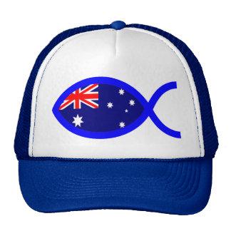 Australian Flag Christian Fish Symbol Trucker Hat