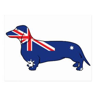 Australian Flag Dachshund Postcard
