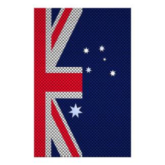 Australian Flag Design Carbon Fiber Chrome Style Stationery