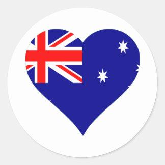 Australian Flag Heart Classic Round Sticker