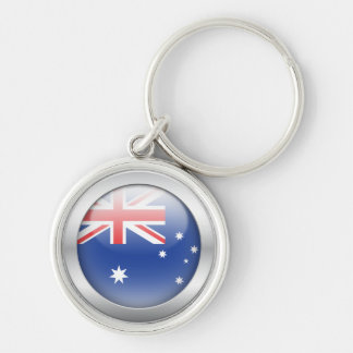 Australian Flag in Orb Silver-Colored Round Keychain