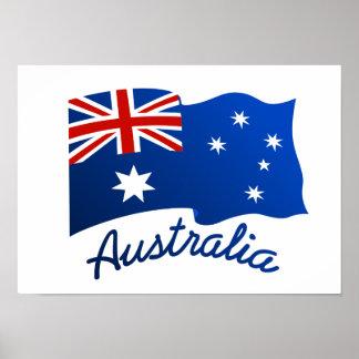 Australian flag in the wind poster