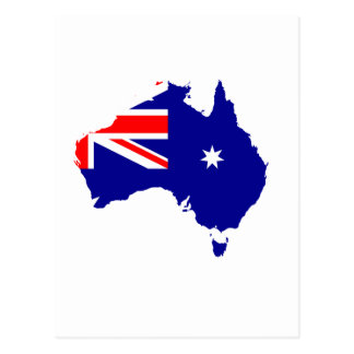 Australian flag map postcard
