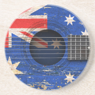 Australian Flag on Old Acoustic Guitar Beverage Coasters