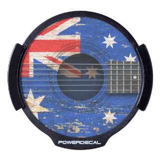 Australian Flag on Old Acoustic Guitar LED Window Decal