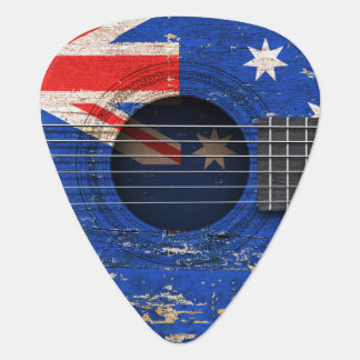 Australian Flag on Old Acoustic Guitar Guitar Pick