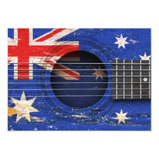 Australian Flag on Old Acoustic Guitar Custom Invite