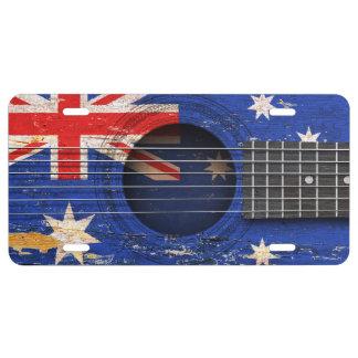Australian Flag on Old Acoustic Guitar License Plate