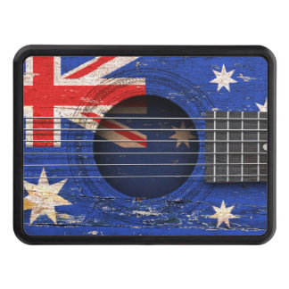 Australian Flag on Old Acoustic Guitar Trailer Hitch Covers