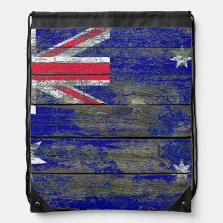 Australian Flag on Rough Wood Boards Effect Drawstring Backpack