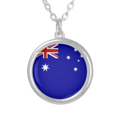Australian flag round pendant necklace
