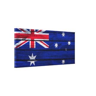 Australian Flag Rustic Wood Canvas Print