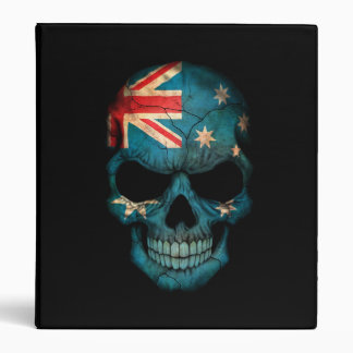 Australian Flag Skull on Black 3 Ring Binder