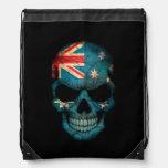 Australian Flag Skull on Black Drawstring Bags