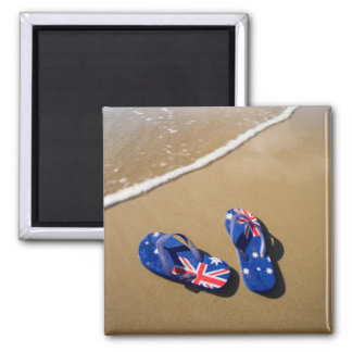 Australian Flag Thongs On Beach | South Wales 2 Inch Square Magnet