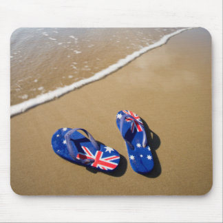 Australian Flag Thongs On Beach | South Wales Mouse Pad