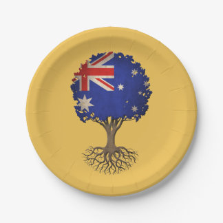 Australian Flag Tree of Life Customizable 7 Inch Paper Plate