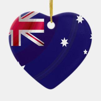AUSTRALIAN FLAG WAVY CERAMIC ORNAMENT