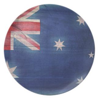Australian Flag Wood Look Melamine Plate