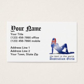 Australian Girl Silhouette Flag Business Card