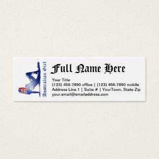 Australian Girl Silhouette Flag Mini Business Card
