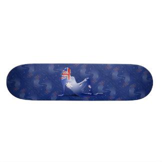 Australian Girl Silhouette Flag Skateboard