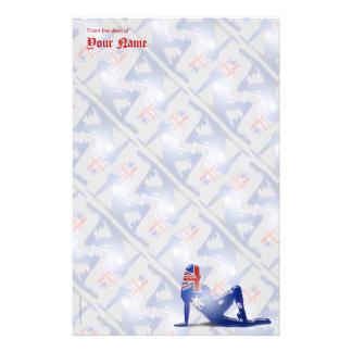 Australian Girl Silhouette Flag Stationery
