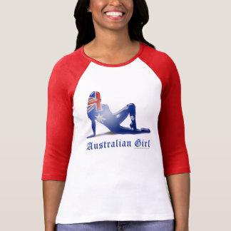 Australian Girl Silhouette Flag T Shirt