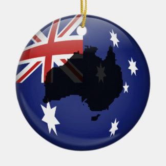 Australian Globe Double-Sided Ceramic Round Christmas Ornament