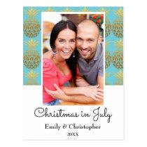 Australian Gold Foil Pineapple Christmas in July Postcard