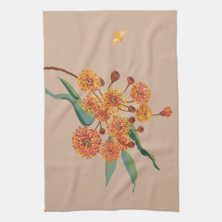 Australian gum tree blossoms and bee kitchen towels