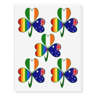 Australian Irish Gay Pride Shamrock Temporary Tattoos