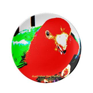 Australian Juvenile Male King Parrot Plate