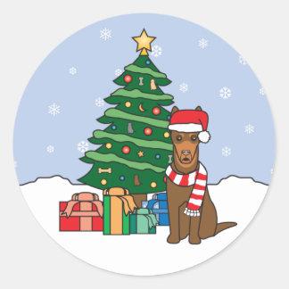 Australian Kelpie and Christmas Tree Round Sticker