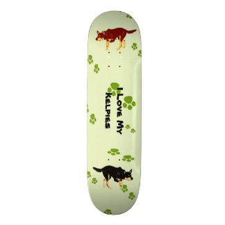 Australian Kelpie and Green Pawprints Skateboard