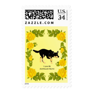 Australian Kelpie and Yellow Roses Postage