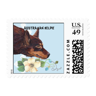 Australian Kelpie ~ Blue w/ White Diamonds Design Postage Stamp