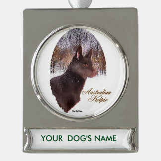 Australian Kelpie Christmas Personalized Silver Plated Banner Ornament