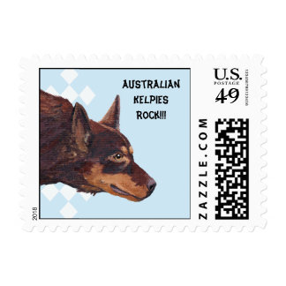Australian Kelpie on Blue w/ White Diamonds Design Postage Stamp