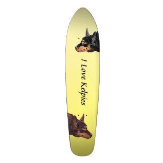 Australian Kelpies on Yellow Skateboard Deck