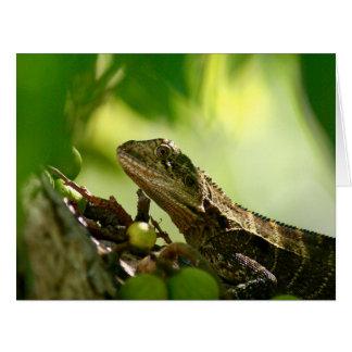 Australian lizard between leaves, Big Greeting Card