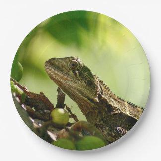 "Australian lizard hiding between leaves, 9"" Photo Paper Plate"
