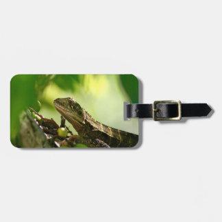 Australian lizard hiding between leaves, Photo Bag Tag